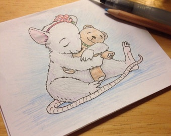 Mouse and her Bear digistamp to color, make tags, embroider, more! (Ink drawing by Kir Talmage)