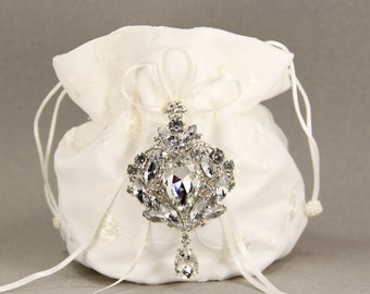 Dance Bag, Ivory Charmeuse Silk Purse with Stunning Swarovski Crystal Accent, wedding, ivory bridal purse, money dance bag, gift for her