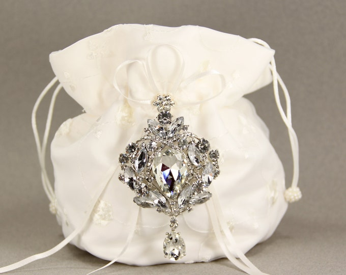 Featured listing image: Dance Bag, Ivory Charmeuse Silk Purse with Stunning Swarovski Crystal Accent, wedding, ivory bridal purse, money dance bag, gift for her