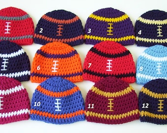 College Football Hat, Football Hat, Crochet Football Hat, Baby Boy Hat, Football Beanie, Crochet Baby Hat, Toddler Football Hat, Photo Prop