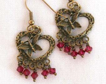Antique Bronze Butterfly Earrings with Rose Swarovski Crystals