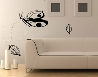 Vinyl Wall Decal Sticker Butterfly Catapillar Leaves AFord104