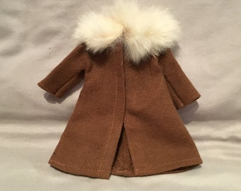 1960s Vintage Handmade Barbie Coat with Fur Trim