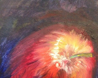Oil Painting Of An Apple By Millie Mollie Mandrake.