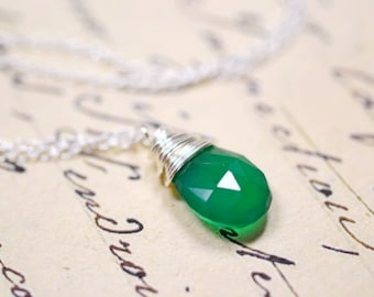 Emerald Green Necklace, Sterling Silver Chain, Green Onyx Wire Wrapped Gemstone, Delicate Jewelry, May Birthstone