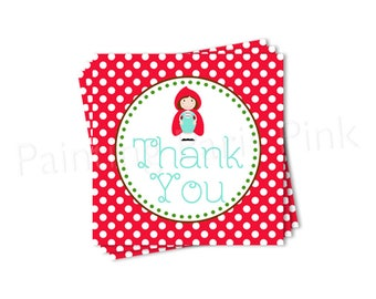 Red Riding Hood Thank You Tag Printable - Instant Download