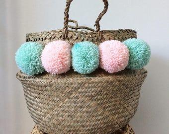 Basket medium Thai tassel mint and pale pink