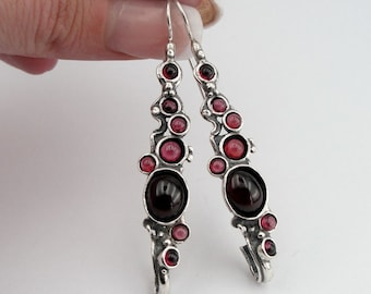 Hadar NEW Long Sterling  Silver Garnet Earrings (H 2151)