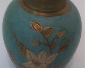 Vintage Brass Vase with Blue Accents, Home Decor, Shelf Display, Home Decoration, Quality Brass Vase, 5 x 4 inches, Flower Design