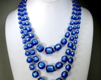 Blue Thermoset Mad Men Bead Necklace, 3 Strands w Clear Bicone Spacers, 1960s Adjustable Length, Lovely & Luminous Like  a Night Sky