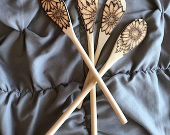 Decorative Sunflower Wood Burned Spoons