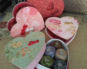 Notions: Valentines Valdani Floss Gift Set of 6  Embroidery Floss 3-Strand Balls in a Heart Package!