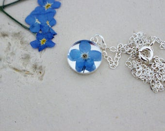 Silver Forget me Not Necklace, Real Flower Necklace, Dainty Silver Necklace, Real Flower Jewelry, Wildflower Necklace, Mum Gift
