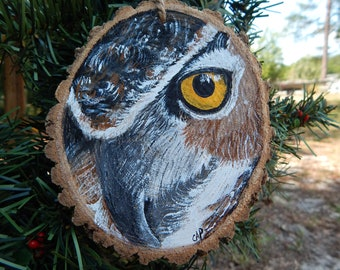 Great Horned Owl Hand painted wood slice ornament