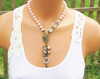 Pink Pearl Necklace, tassel of Leaves. beaded necklace, Gift for women