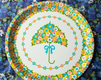 Gorgeous Retro Tin Tray - 1970's - By Shape (Liverpool) - Parasol no. 1780 -  Funky Flowery Umbrella in pink, yellow, blue & green - Used