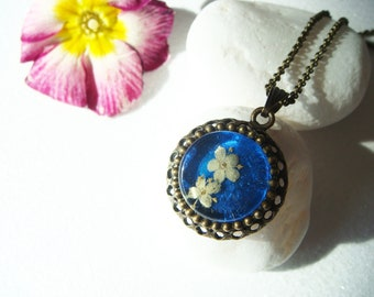 Real flower oxidized brass pendant with chain