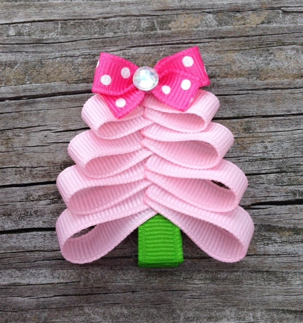 pink christmas tree hair clip christmas hair toddler