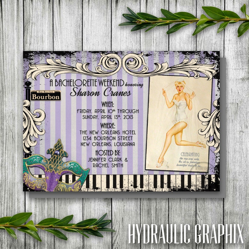 New Orleans Bachelorette Party Invitation Retro Pinup