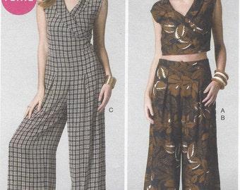 Melissa Watson Womens Crop Top, Wide Leg Pants & Jumpsuit OOP McCalls Sewing Pattern M7133 Size 14 16 18 20 22 Bust 36 38 40 42 44 UnCut