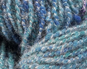 Windswept Seas - Handspun Textured Corespun Bulky Yarn, Blend of Hand Dyed Fibres with Sparkle - 145 yards