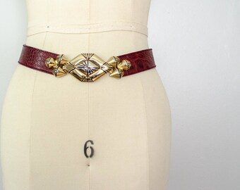 burgundy leather belt | Italian leather belt | ornate belt buckle