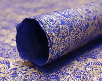 Blue Gold Wizard Starburst Spiral Sapphire handmade Wrapping Paper gift wrap 3 sheets floral print