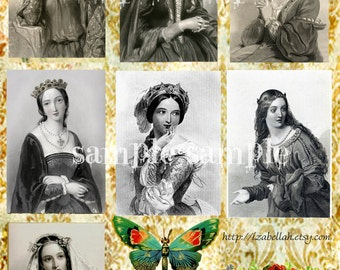 Instant DIGITAL download COLLAGE sheet Vintage Victorian French Ladies illustration engravings Paper Journaling Art Supplies French Postcard