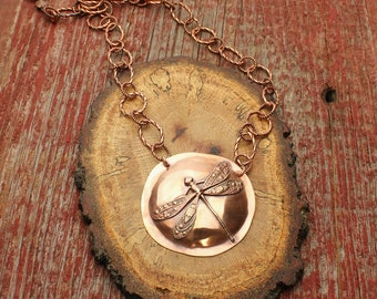 Copper Dragonfly Necklace Custom Made Copper Chain, Insect