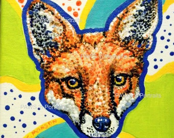 RED FOX Portrait - Hand painted - Original- FREE Shipping