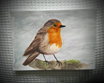 Original Robin watercolour painting 5x7