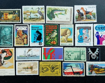 Twenty (20) vintage unused postage stamps from the 1950s-1990s - creepy, Hannibal-themed. Lot #1