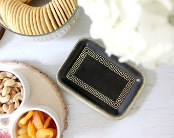 Mid Century Appetizer Trays, Metal Cocktail Plates