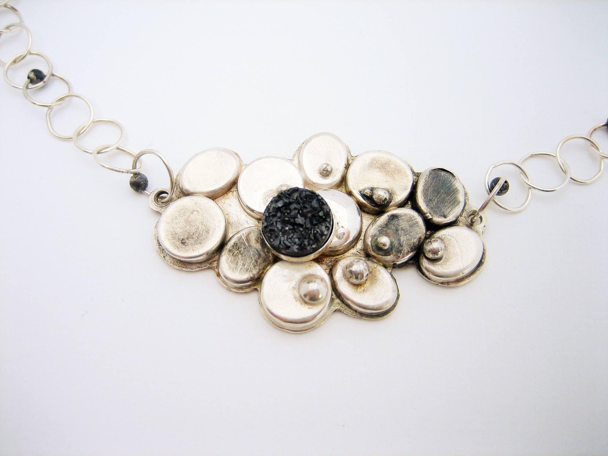 Silver flower necklace with silver druzy quartz, blackened silver artisan necklace, pod necklace, statement flower necklace, modern flower