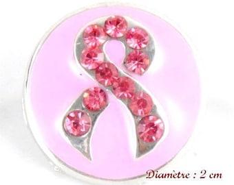 1 click Snap Pink Rhinestone Ribbon 20 mm snap 18 mm Snap button
