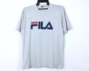Vintage Fila Shirt Big Logo Rap Tees Hip Hop Swag