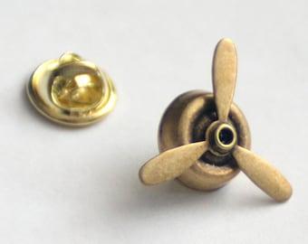 Vetaran's Gift Idea, Airplane Propeller Tie Tack, Pilot Tie Tack, Spinning Propellers, Military Veteran Pilot Gift, Steampunk Propeller Pin