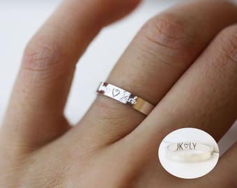 Personalized rings / Ring with custom engraved / inside engraving / handwriting ring / Silver band ring wedding ring / personalized jewelry