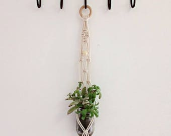 "Macrame Plant Hanger / Natural Cotton /  Mason Jar Holder / 29"" Long"
