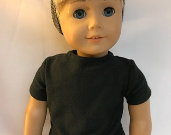Black cotton tshirt tee 18 inch boy doll shirt 18 inch boy doll clothes