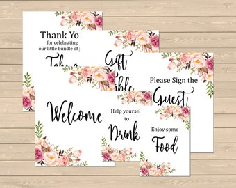 Floral Boho Baby Shower Printable Signs, Boho Shower Decor, Floral Boho Table Signs, Set of 6, Boho Printable Signs, Instant Download, 025-W