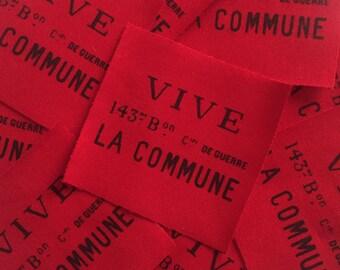 Paris Commune Patch, 1871, Souvenez Vous De La Commune, Libertarian, Bakunin, Karl Marx, Punk Patch, Cruster Patch, Vive La Commune, Crapco