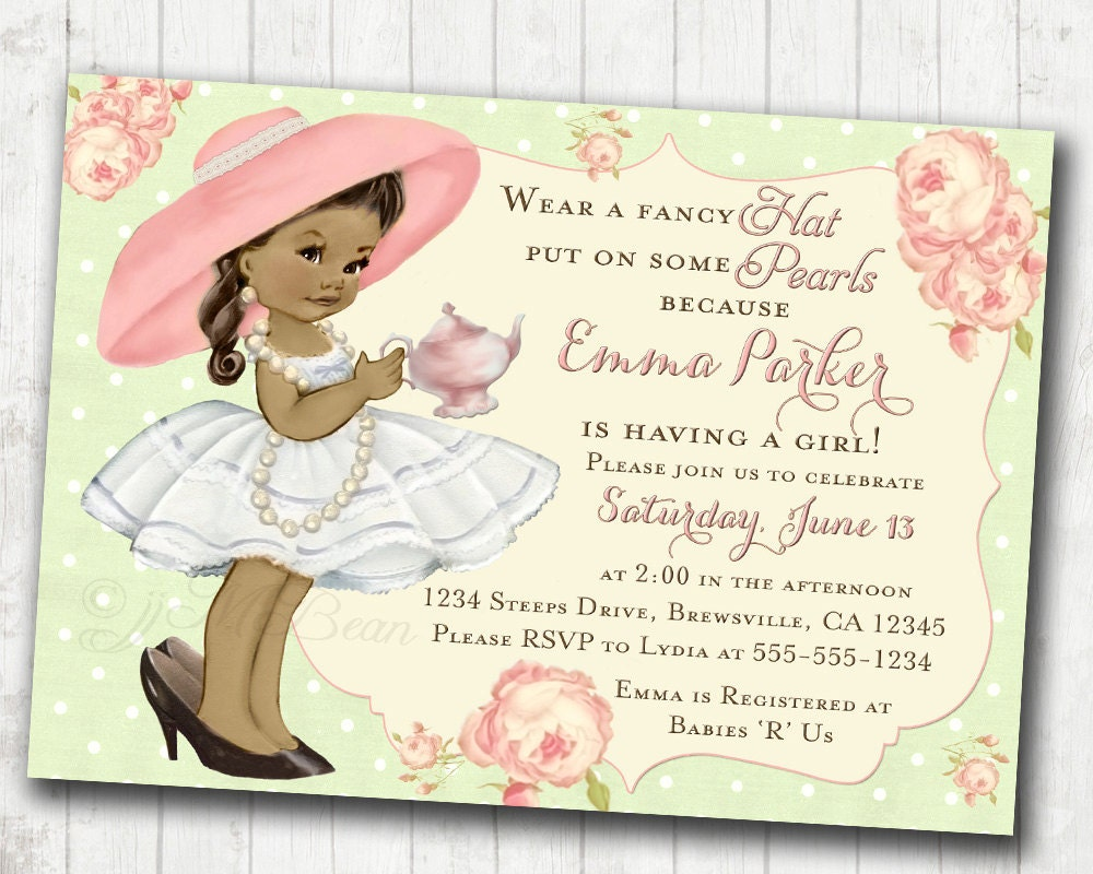Tea Party Baby Shower Invitation For Girl Birthday Tea Party