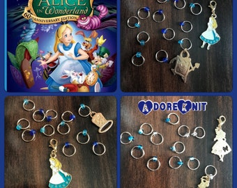 Alice in Wonderland inspired Ring Stitch Markers, Enamel, stitchmarkers, go ask Alice, bracelet, snagless, knitting supplies, notions, gift