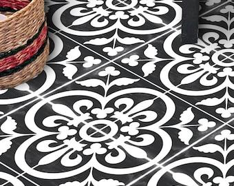 Vinyl Floor Tile Sticker - Floor decals - Carreaux Ciment Encaustic Corona Tile Sticker Pack in Black