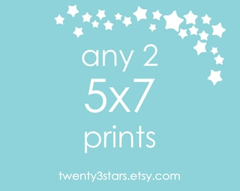 Any 2 Prints 5x7 - Choose Any two twenty3stars Prints and Get them in a 5x7 size, Personalized Sports Art, Custom Music Art, Digital PDF