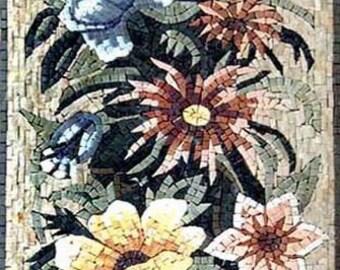 Daisies and Lilies Handmade Mosaic