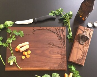 Personalized Cutting Board AND Bottle Opener Set Anniversary Bridal Shower Gift Wedding Christmas  (EEBB211)