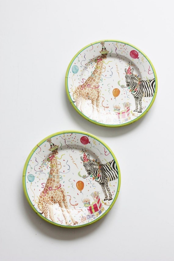 & 12 Vintage Style PARTY ANIMAL Paper Plates Parisian Chic