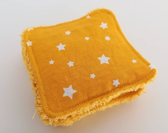 Washable star yellow cotton and Terry cloth.